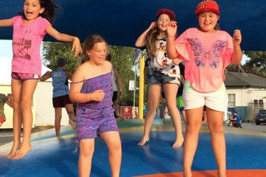 Summer - Four girls on the jumping pillow